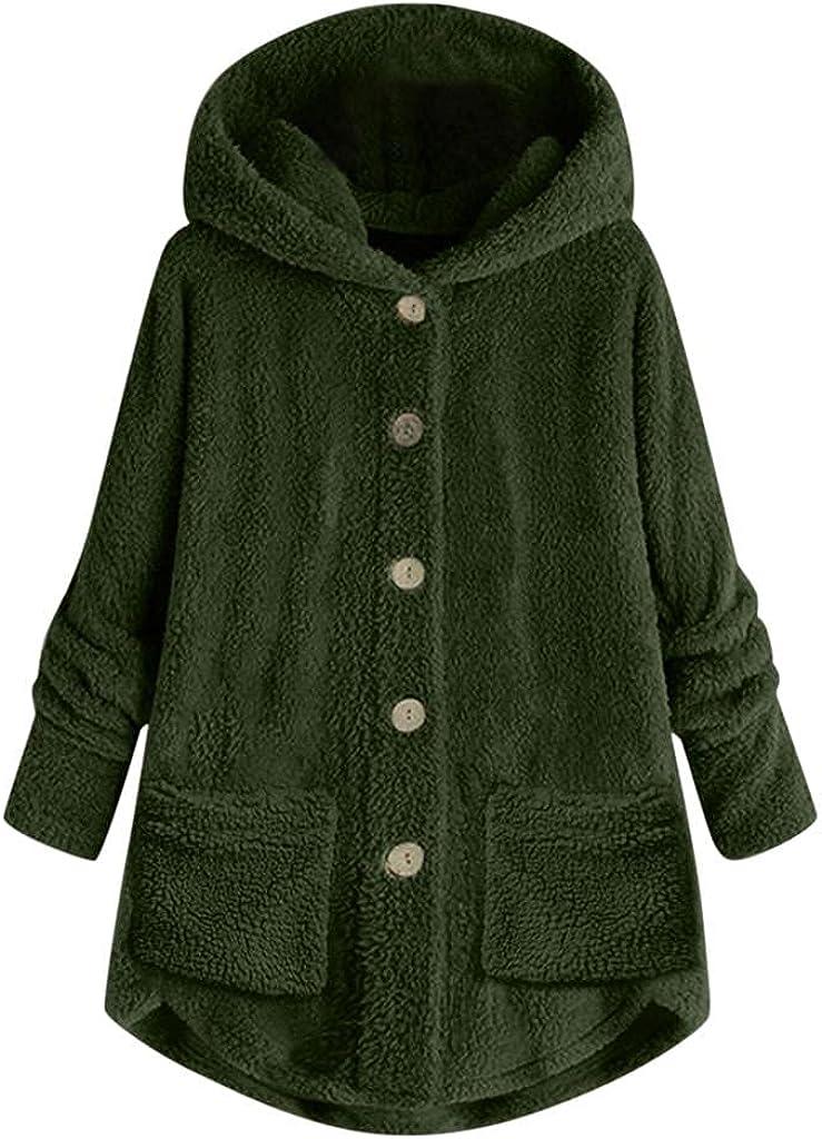 Women's Wool Winter Jacket Coat With Hood Plus Size Button Plush Windproof Outwear Hooded Trench Fleece Poncho Overcoat