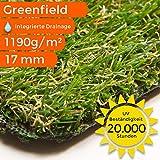 Sehr dichter Kunstrasen Rasenteppich Greenfield   wasserdurchlässig für Balkon, Terasse und Garten   bis 5 m Breite, Größe: 300x900 cm