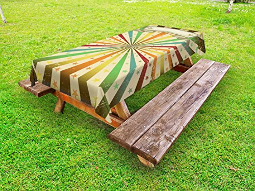 Ambesonne Vintage Rainbow Outdoor Tablecloth, Carnival Advertisement Themed Colorful Lines and Stars Grunge Background, Decorative Washable Picnic Table Cloth, 58' X 84', Pastel Rainbow