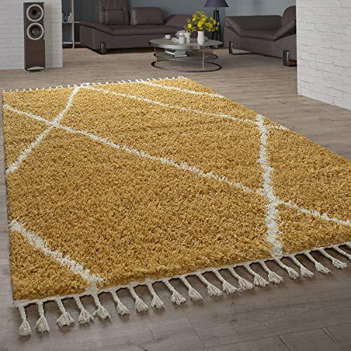 Paco Home Shaggy Teppich Wohnzimmer Hochflor Rauten Muster Skandi Design, Grösse:140x200 cm, Farbe:Gelb