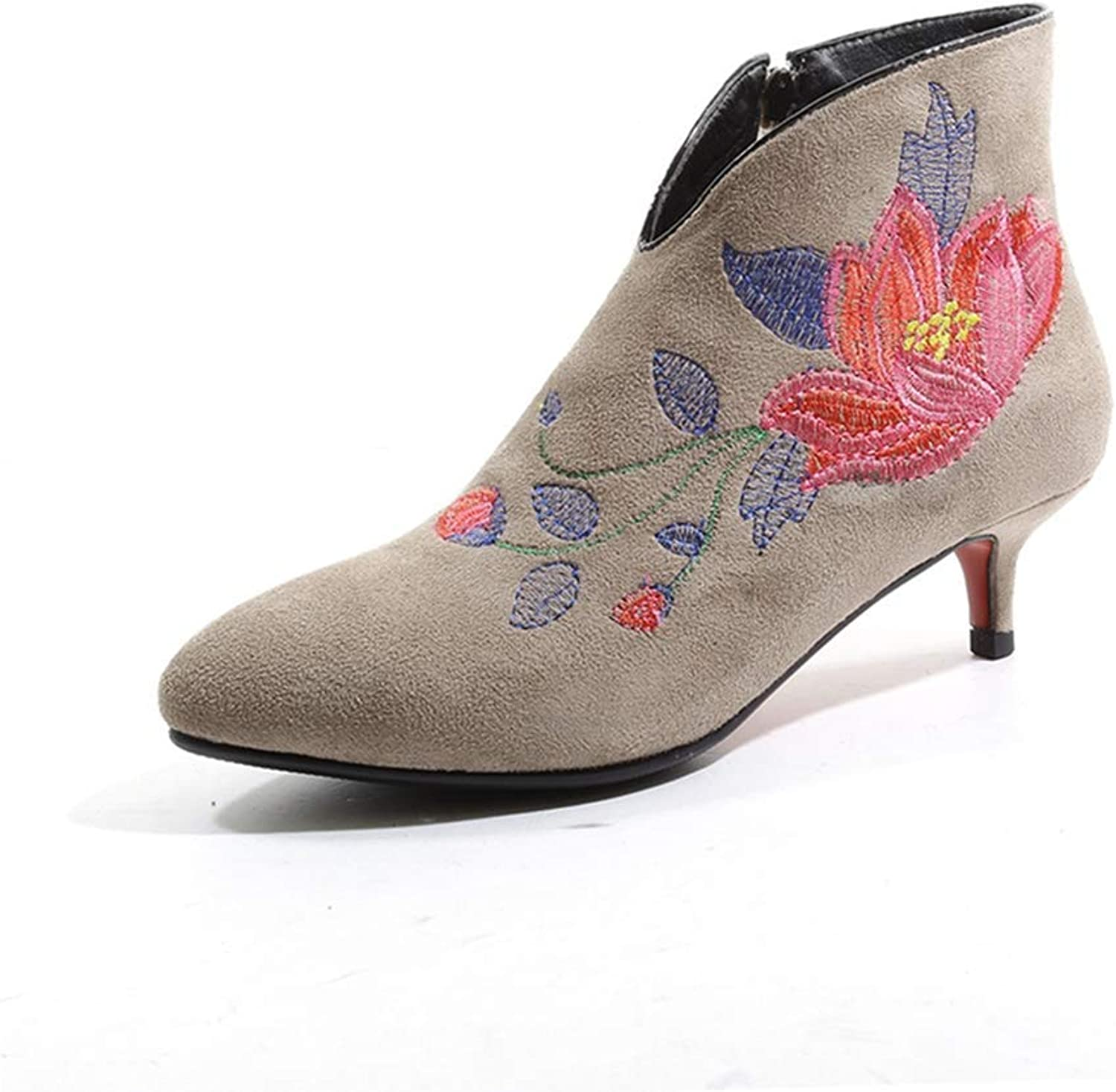 KEREE Women's Retro Embroidered Ankle Boots Flowers Pointed Toe Stiletto Low Heel Zipper Dress Short Booties