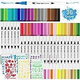 Aottom 36 Brush Pen Pennarelli Acquerelli Penne con Punta morbida in Nylon Flessibile e 6 formine per il Lettering, la Calligrafia, Lettering, Schizzi, Bullet Journal