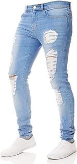 iZHH Men Slim Biker Zipper Jeans Skinny Frayed Pants Distressed Rip Trousers