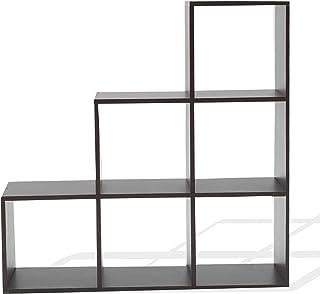 Rebecca Mobili Estantería Baja estantes cúbos 6 Compartimentos Madera Color wengué diseño contemporáneo para almacen...