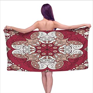 Bath Towel Sets for Bathroom Classic Decor Collection,Complex Geometrical Vintage Persian Egyptian Mystic Moorish Openwork Image,Dark Pink White,W10 xL39 for Men red