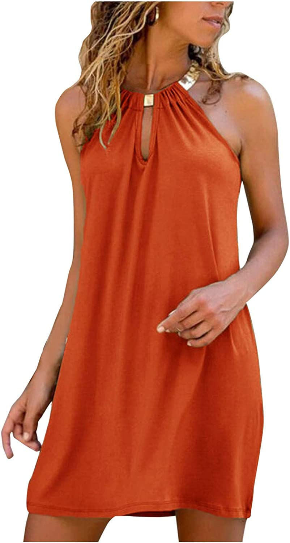 Oiumov Summer Dresses for Women Sexy Halter Neck Mini Dress Party Casual Beach Sundress Loose Boho Dress Cami Dress