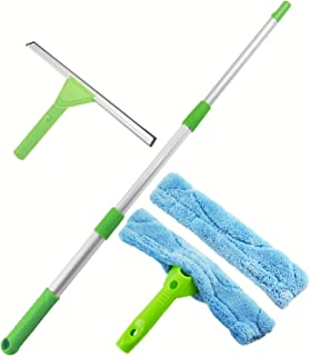 """ITTAHO 12""""Window Squeegee with Scrubber and Extension Pole Window Washing Tool Microfiber Squeegee for Car Windshield Glass,RV,Shower Room,Solar Panel Cleaning,Outdoor High Window Cleaning"""