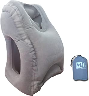 MG MULGORE Airplane Pillow Travel Pillow Inflatable Travel Pillow for Airplanes Cars Buses Trains Office Napping Camping for Fully Support Soft Flight Sleep Pillow Fast Inflating Nap Pillow (Gray)