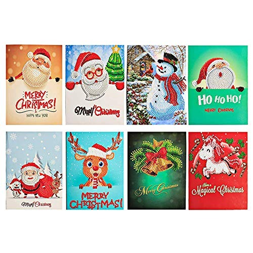 Christmas Cards 8 Packs 5D Diamond Painting Greeting Holiday Card for Xmas - Include Christmas Bells, Reindeer, Snowman, Santa Claus Cards And 8 PCS Envelopes