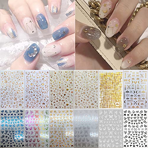 Penugo 12 Sheets 3D Self-Adhesive Nail Art Stickers, Laser Gold/Silver/Colored Gold Butterfly/Bee/Star/Moon Nail Decals for Art Design, Mixed Design Nail Art Decorations for Women/ Girls