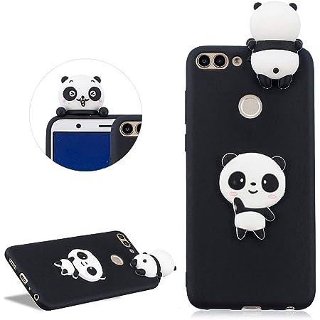 Compatible with Huawei P Smart 3D Panda Dessin Animé Silicone Coque, DasKAn Ultra Mince Souple Gel TPU Housse de Protection Étui de Téléphone, Noir#3