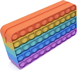 AVALLONYA - Trousse à Crayon Pop it Fidget Toys - Silicone de qualité supérieure - Anti Stress poppit - Jeux Fidget Toy po...