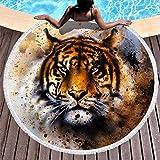 Toalla de playa redonda con diseño de tigre marrón, manta de picnic, para adultos, niños, playa, vacaciones, viajes, toalla de rizo, suave, esterilla de yoga con borla, poliéster, blanco, 150 cm