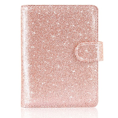 ACdream Leather Passport Holder Bonus Stylus Cover Case RFID Blocking Travel Wallet with Magnet Closure, Rose Gold Star of Paris