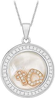 Tuscany Silver 女式 925 纯银镀铑方晶锆石和珍珠母心形圆形带玫瑰金挂坠可调节链上 41 cm/16 英寸 - 46 cm/18 英寸