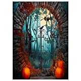 Funnytree 5x7ft Halloween Party Photography Backdrop Spooky Moon Night Foggy Forest Background Pumpkin Lantern Door Bats Birthday Portrait Decoration Banner Photo Booth Poster