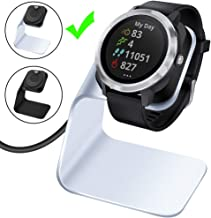 EZCO Compatible Garmin Vivoactive 3 Charger Dock Stand Cable, Premium Aluminm Charging Base Station USB Date Syn Compatible Garmin Vivoactive 3 / Vivoacitve 3 Music Smartwatch, Silver