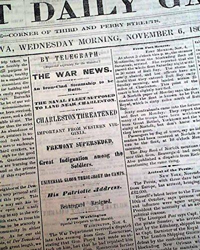 "Original & Rare Civil War Era 1861 DAVENPORT IA ""Iowa's Front Porch"" Midwestern DAVENPORT DAILY GAZETTE, Iowa, November 6, 1861"