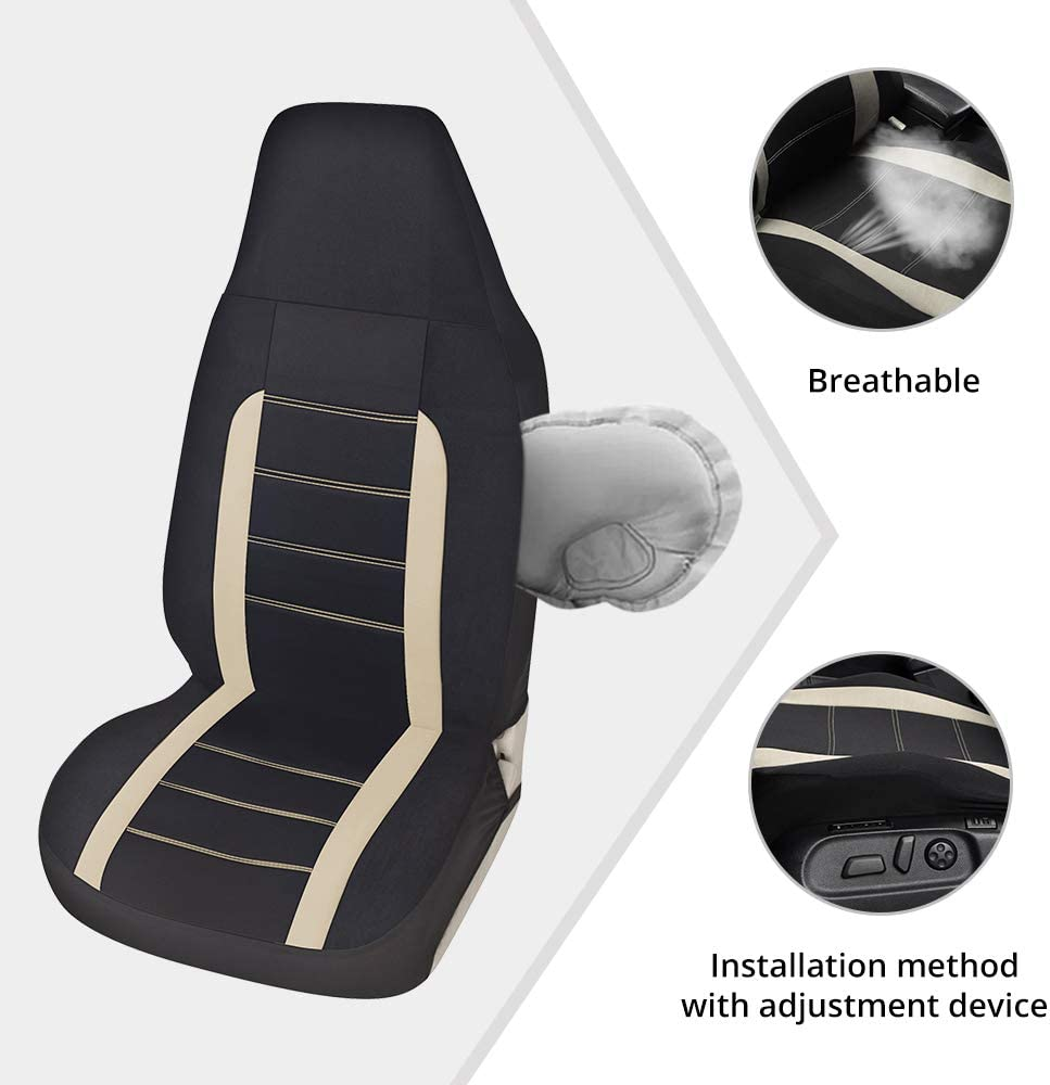 AUTOYOUTH Auto Car Front Seat Covers Bucket Seat Cover Seat Protectors Line Design Car Seat Accessories-Gray