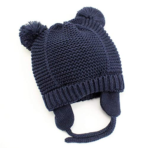 Baby Beanie Earflaps Hat - Infant Toddler Girls Boys Soft Warm Knit Hat  Kids Winter Hat a7773f89735f