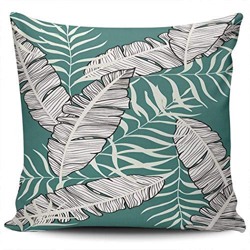 Moily Fayshow Federa Esotica con Foglie di Banano Tropicali Piante Hawaiane Botanico 55X55 Cm Cuscini Quadrati Coperte e Plaid Fodere per Cuscini