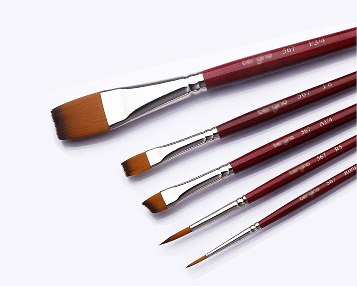 Artist Paintbrush, Nylon Bristle art Brush set, Oil painting, acrylic, gouache and watercolor brushes (5 pieces) Multi-style Art Best Brush