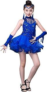 39433127dfa besbomig Mode Sequin Houppe Robe Danse Latine Salsa Tango Enfants Dancewear  - Filles Ballroom Fête Performance
