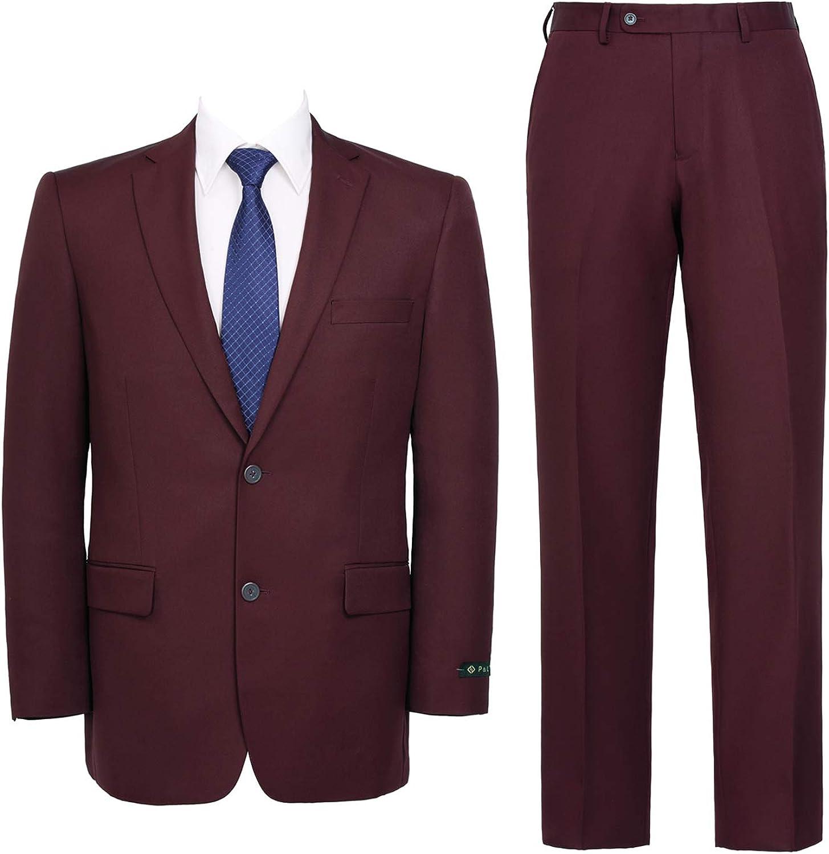QSYJ Men's Slim Fit 2 Flat-Front Rapid rise Jacket Suit Sale item Pants Button