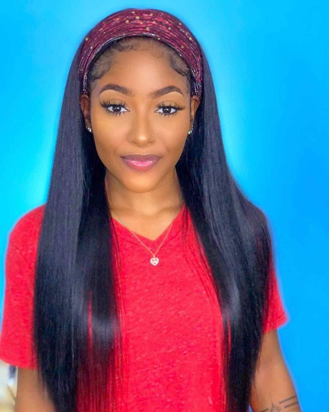 Straight Human Hair Headband 送料無料激安祭 正規取扱店 Wigs for Made Women N Machine Black
