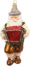 Pinnacle Peak Trading Company German Bavarian Musician Santa Playing Accordion Polish Glass Christmas Ornament
