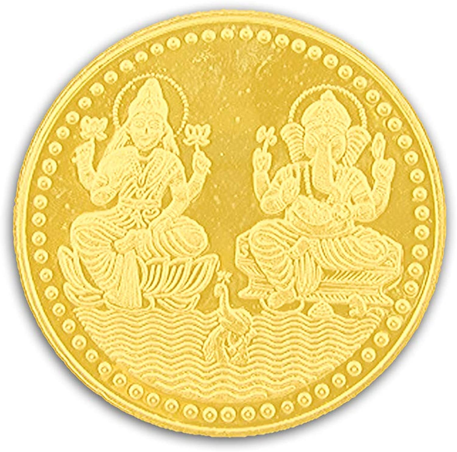 Ganesh Lakshmi Coin In Pure Silver 999 gold Plated Religious Coin 150 Grams