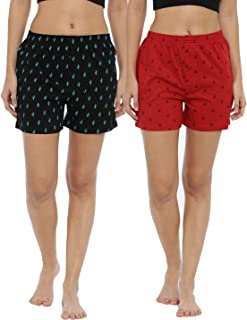 JOVEN Women's White and Red Boxer Pack of 2