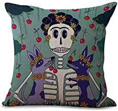 Oil painting cartoon animal cat girl skull Cotton Linen Throw pillow cover Cushion Case Holiday Decorative 18X18 (1)