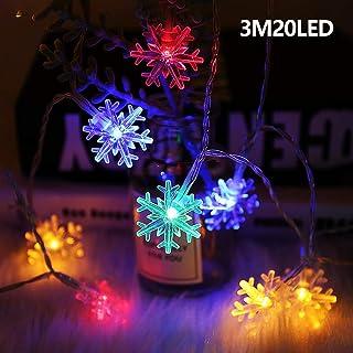 Zorara Guirnalda Luces, LED Luces decorativas 3M 20LED de Forma de copos de nieve Luces de árbol de Navidad Luces de hadas para decoración navideña interior/exterior, multicolor