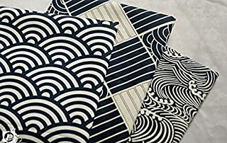 3pc Japanese Wave Style Cotton Fabric for Qualiting and Sweing DIY Fabric Project 40x 50cm Blue