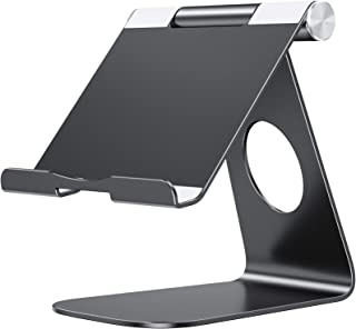 OMOTON Adjustable Tablet Stand Compatible with iPad, Tablets (Up to 12.9 inch) and All Cell Phones, Stable Sticky Base, Black