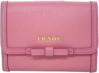 291c18f0a564 Prada Vitello Move Leather Geranio Pink Coin Purse Bi-fold Bow Wallet 1MH523