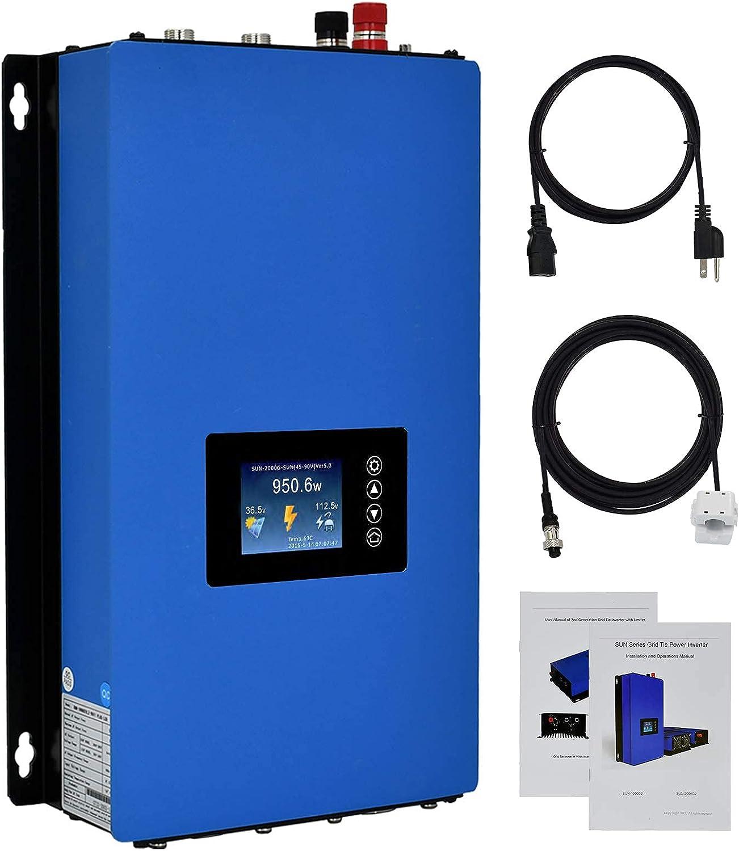 ECO-WORTHY 1000W Solar Grid Tie Inverter MPPT Pure Sine Wave DC 22 to 65V Solar Input AC 110V PV System