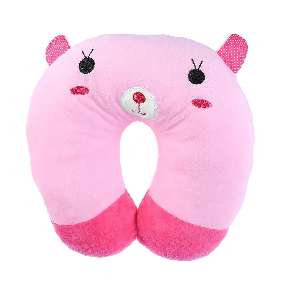 ネブ火山の自己尊重HEALIFTY 首牽引枕漫画ぬいぐるみU字型枕首サポートクッション旅行枕飛行機のために車(ピンクのウサギ)