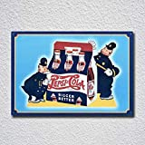 Tamengi Ice Cold! Delicious! Pepsi Cola Tin Sign Metal Sign,Man Cave Tin Sign 7.8X11.8 Inch for Home Bar Store Garage Coffee Shop Hotel Decor