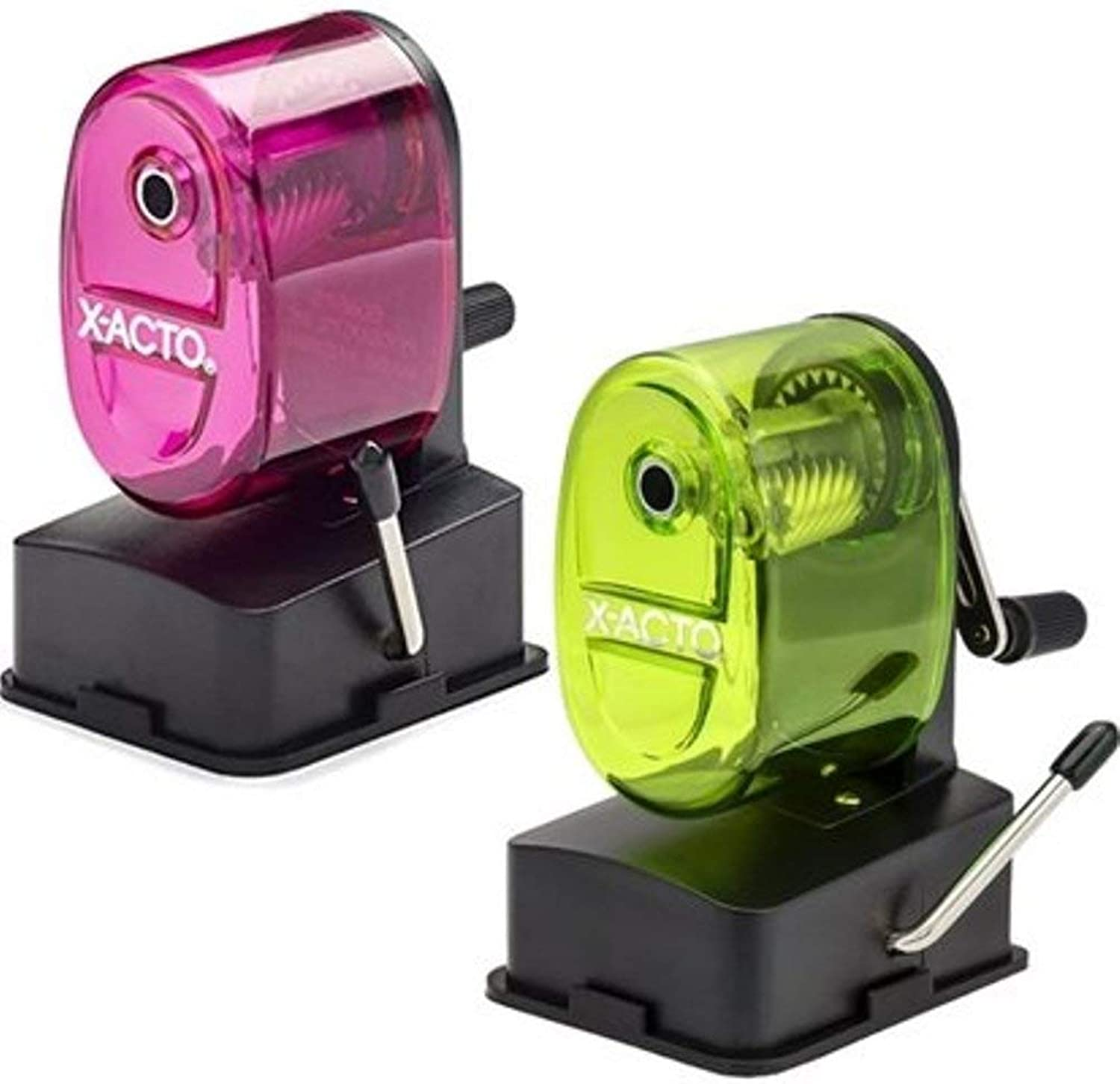 X-Acto 2012687 Bulldog Vacuum Wall Mount Manual Pencil Sharpener, Assorted Colors (2 Pack), See-through Receptacle, Affix to Any Nonporous Surface, X-ACTO Hardened Helical Cutter