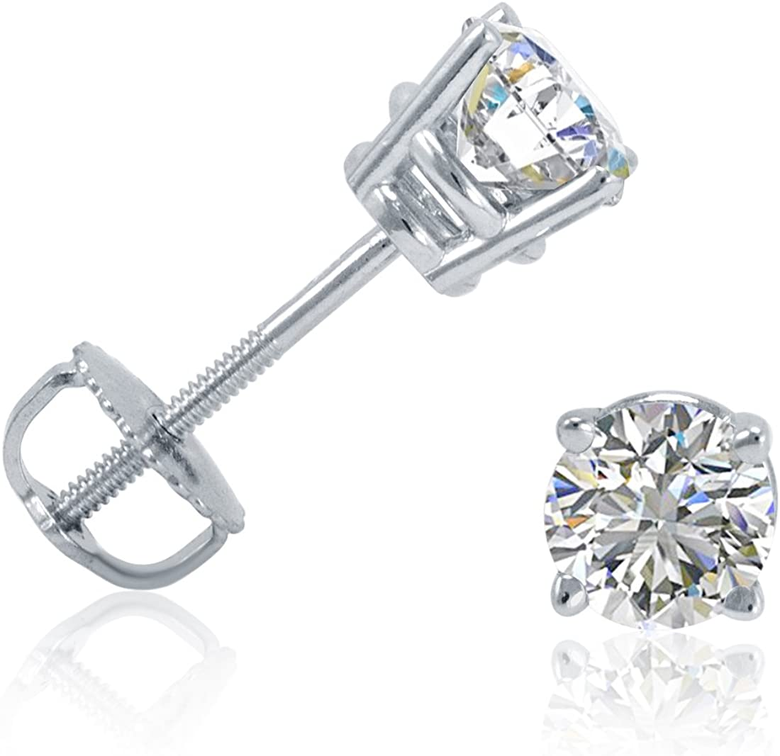 AGS Certified 1 2ct TW Round Earrings Diamond I In a popularity G-H Stud Color Max 69% OFF