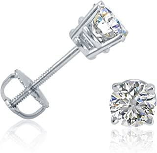 AGS Certified 1/2ct TW Round Diamond Stud Earrings in 14K Gold with Screw Backs