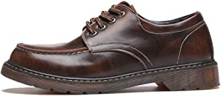 Casual shoes. Men's Loafer Shoes Genuine Leather Lace Up Slip-ons Classic Oxfords Low Top Ankle Boots (Color : Brown, Size : 5.5 UK)