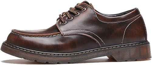 L.W.SUSL L.W.SUSL L.W.SUSL Mocassins pour Hommes Slip-ons en Cuir véritable à Lacets Oxfords Classiques Bottes Montantes Basses des Chaussures (Couleur   Marron, Taille   11MUS) 957