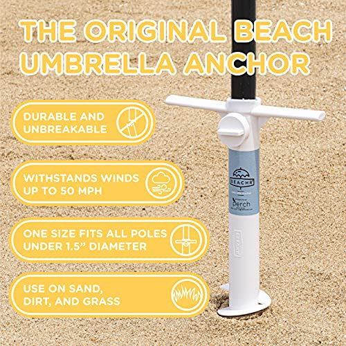Beachr Beach Umbrella Sand Anchor, One Size Fits All, Safe Stand for Strong Winds