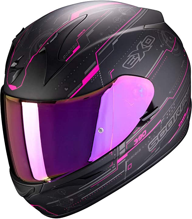 Casco moto  scorpion exo-390 beat matt black-pink s 39-305-179-03