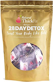 Natural ThickFit 28 Day Detox Tea: Shrink Belly Fat While Shaping Your Curves. Cleanse w/All Superfoods Slimming Weight Loss Herbs & Fruits. Eliminate Toxins, Bloating, Boost Energy & Laxative Free