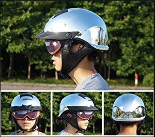 GYOUC Retro Half Motorcycle Helmet,Built-in Sunglasses Visor Ladder Harley Helmet Jet Helmet Bluetooth Can Be Installed Suitable for Bicycles,mopeds,Open-face Helmets Dot Certification