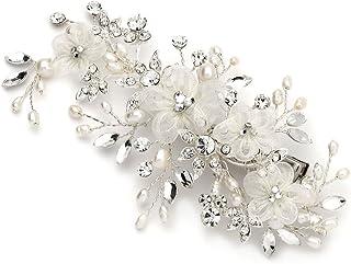 USABride 淡水珍珠和水晶发夹,新娘花朵发饰 2218